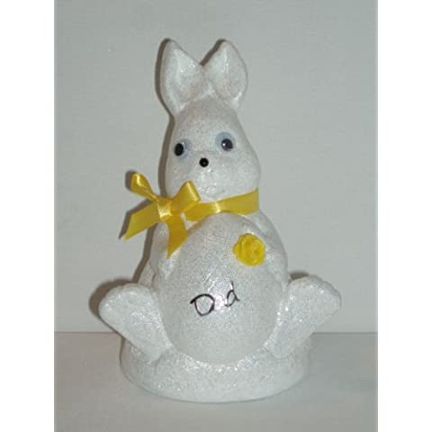 Dad bianco coniglio di Pasqua Outdoor commemorativa ornamento (giallo (Easter Bunny Ornamento)