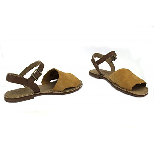 Timberland Women's Sheafe A14W9 Leather / Suede Buckle Strap Sandal Indigo Camel