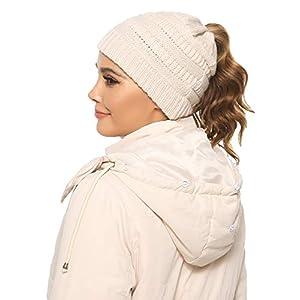 Aibrou Damen Mädchen Winter Mütze mit Zopfloch, OneSize Strickmütze Wintermütze