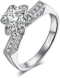 14432f85d0bb52 JewelryPalace Fiore Petalo 1.5ct Cubic Zirconia Solitario Anello di  Fidanzamento in Argento Sterling 925