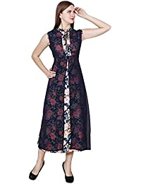 My Swag Women's Floral Print Fit And Flare High Neck Long Kurti