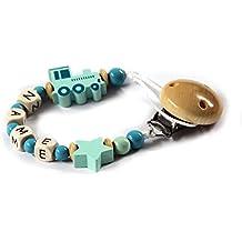 Baby Chupete con cadena de perlas de madera y nombre personalizado. Tren con estrella Mint