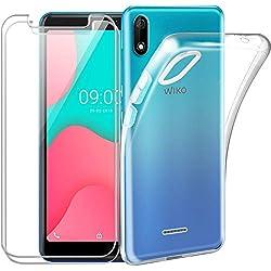 Reshias Coque Wiko Y80 Silicone Transparent [Antichoc] Souple TPU Housse Bumper Soft Case Cover pour Wiko Y80 avec (2 Pack) Verre trempé écran Protecteur