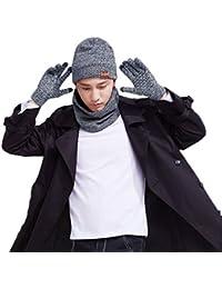 Mebest Wintermütze, Mütze mit Loop Schal Handschuh-Sets, Touchscreen Handschuhe Beanie Warme Mütze Strickmütze Winterschal mit Fleecefutter für Damen und Herren