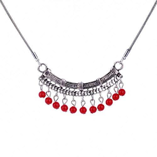 CTMLY Green Bead Necklace Antike Silberfarbe Statement Jewel Schlangenkette Chunky Bead Necklace (Chunky Halskette Jewel)