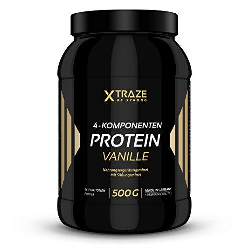 4 Komponenten Protein Pulver 500g Vanille 90,6% Eiweiß, Isolat + BCAA + Glutamin (Protein Vanille Egg)