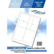 LabelOcean LO-0004-a-70, 400 Etiketten 105x148.5mm, 100 Blatt DIN A4, 70g/qm, geeignet für Inkjetdrucker-, Laserdrucker und Kopierer.