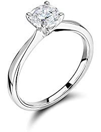 Abelini 9K White Gold Certified I1/HI 100% Natural Round Solitaire Diamond Engagement Rings (Available in 0.10-1.00CT)