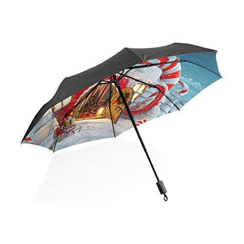 XiangHeFu Regenschirm Weihnachtshaus Automatisches Öffnen 3 Falten, leicht, UV-Schutz