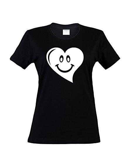bedrucktes Damen T-Shirt mit witzigem Spruch, lachendes Herz, Größen S-XL, cooles Fun-Shirt ideal als Geschenk Schwarz/Weiß