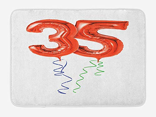 JIEKEIO 35th Birthday Bath Mat, Vivid Colored Balloons Flying with Curly Ribbons 35 Years Old Themed, Plush Bathroom Decor Mat with Non Slip Backing, 23.6 W X 15.7 W Inches, Red Green Blue