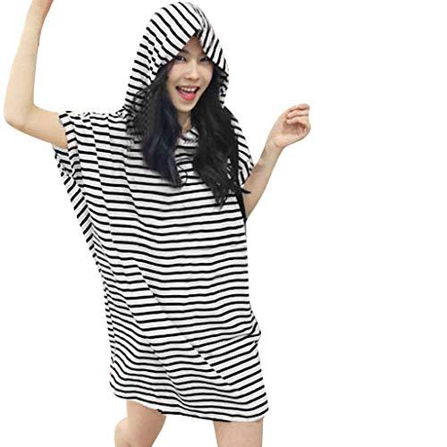 JYJM Kleid Frauen Sommer Mode Streifen Rundhalsausschnitt Loses Freizeitkleid Dünn und Leicht Bequem Kapuze Kappen Sommerkleid Einfach Elegant Strandrock -