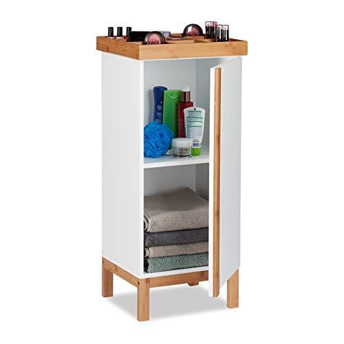 Relaxdays Badschrank mit Organizer für Schmuck oder Uhren, Beistellschrank mit Bambus-Elementen, 80 x 35 x 30 cm, weiß