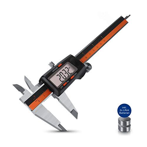 The Noble Finn® Digitaler Messschieber - Schieblehre mit beeindruckender Messgenauigkeit - Messlehre für Innen-, Außen-, Tiefen- & Stufenmessungen