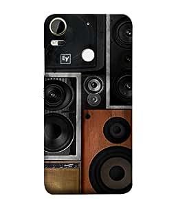 PrintVisa Designer Back Case Cover for HTC Desire 10 Pro (sound system black brown shades vintage)