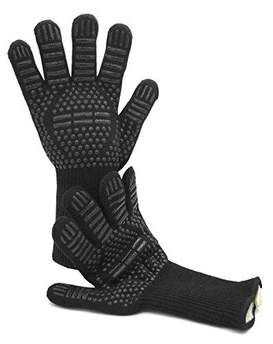 Grillhandschuhe Hitzebestndig Bis 500 C1 Paarschwarzlange Ofenhandschuhetopfhandschuhebackhandschuhekaminhandschuhebbq Handschuhe