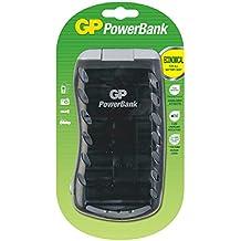 GP PowerBank Universal - Cargador de pilas AA, AAA, C y D (9 V), color negro