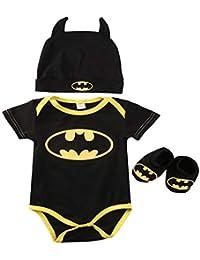 3 Unids 2019 Ropa Bebe Verano BebéS ReciéN Nacidos Bebe NiñOs Batman Mamelucos Zapatos Trajes De Sombrero Ropa Set Bebé…