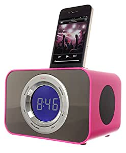 KitSound Clock Radio Dock for 30-Pin Connector iPod and iPhone 4S/4/3GS/3G, iPod Nano 5th Generation and iPod Touch 4th Generation - Punk Pink