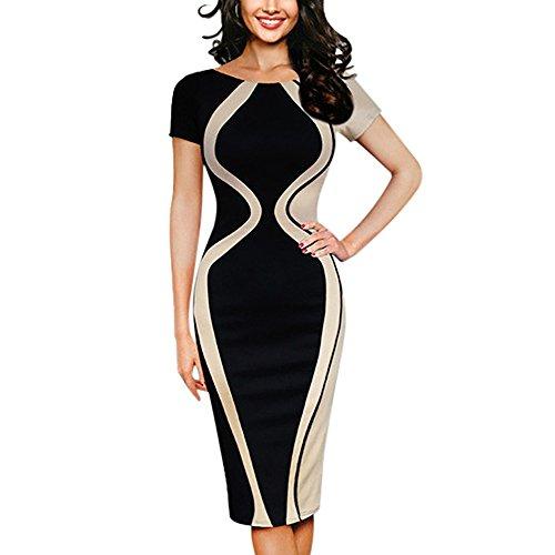 Xmiral Damen Kleid Polyester Sexy Patchwork Kurzarm Party Business Stil Bleistift Mini Kleider...