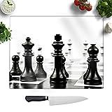 Big Box Art - Juego de Mesa de ajedrez de Cristal endurecido, 2 Unidades, diseño artístico, decoración de Cocina, Protector de encimera Grande o Bandeja de Servir, 39 x 28,5 cm