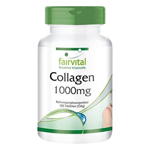 Collagen Tabletten mit Vitamin C und L-Ornithin, 8000mg Tagesverzehr, Collagenhydrolysat, ohne Magnesiumstearat, 180 Collagen-Tabletten, für Haut, Bindegewebe & Fingernägel