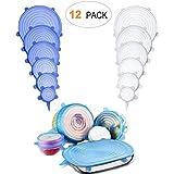BASON Tapas Silicona,12 Piezas Tapas Silicona Ajustable Cocina cuadradas Tapa Silicona para Alimentos, microondas, lavavajillas, congelador(6 Transparente + 6 Azul)