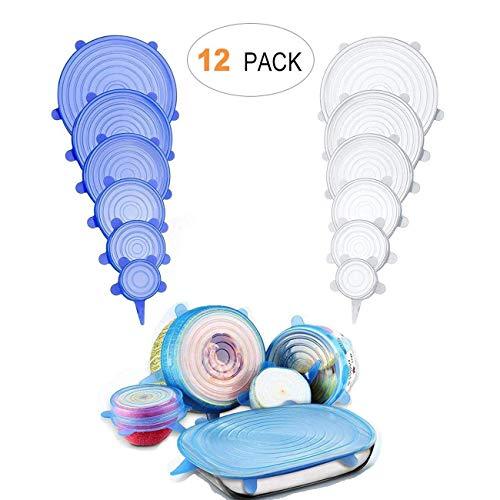 coperchi Silicone,12 Pack di Diverse Dimensioni Coperchio in Silicone per Alimenti, Riutilizzabile ed Espandibile Coperchio per Tazza per Pentole e Freezer - BPA Free