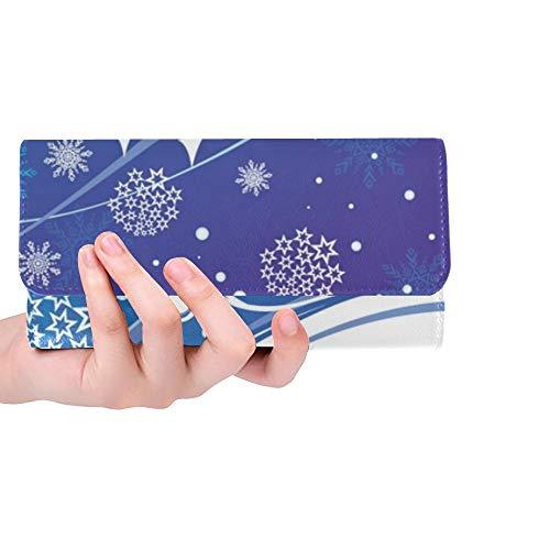 Christmas Blue Card Frauen Trifold Wallet Lange Geldbörse Kreditkarteninhaber Fall Handtasche (Blue Christmas Hut)