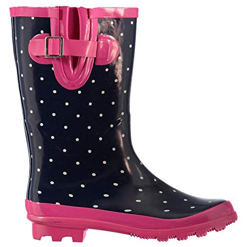 Rock and Rags Womens Slip On Buckle Moulded Polka Dot Wellies