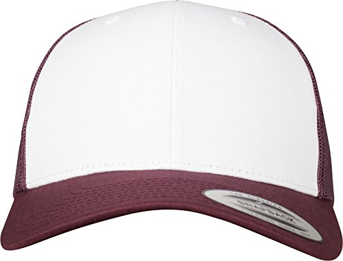 Flexfit Retro Trucker Colored Front Kappe, Maroon/White, One size