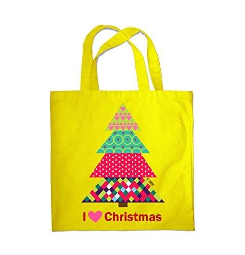 Colour Fashion I Love Weihnachten Weihnachtsbaum Einkauf Fitness Strand Tragetasche 0080 Gelb