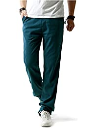 Surenow Pantalones de Lino para Hombre Cómodo Largo Cintura Elástica Casual b5a689c9a7ab