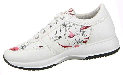 Damen Schuhe Freizeitschuhe Blumen Print Sneakers Rot