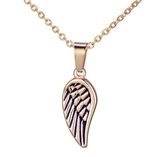 Morella Collar Mujeres con Colgante Alas de ángel y corazón de Acero Inoxidable Oro Rosa en Bolsa de Terciopelo