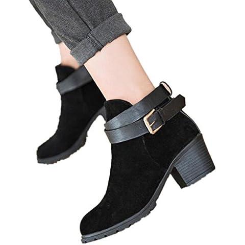 FEITONG mujeres Invierno Nieve Señoras Tobillo Tacón Bajo Hebilla del cinturón Zapatos botas de