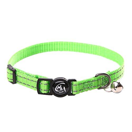 Masterein Reflektierendes Katzenhalsband mit Glocke Nylon Hundehals Gürtel Kragen-Streifen-Welpen Hals Seil Cordgewebe Grün (Glocke Kragen)