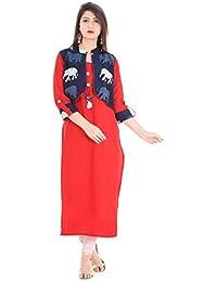 Stylum Red And Navy Blue Festive & Party Kantha Work Jacket Style Women Kurti
