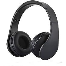 Auriculares Bluetooth, PUGO TOP® superior inalámbrico plegable auriculares estéreo auriculares con radio FM, ranura para tarjeta TF, MP3 reproductor, micrófono, 3,5 mm Puerto Cable, 5 horas de tiempo de reproducción