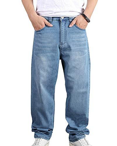 Guiran Uomo Jeans Larghi Pantaloni Denim Baggy Casual#022(Azzurro Chiaro / 46)