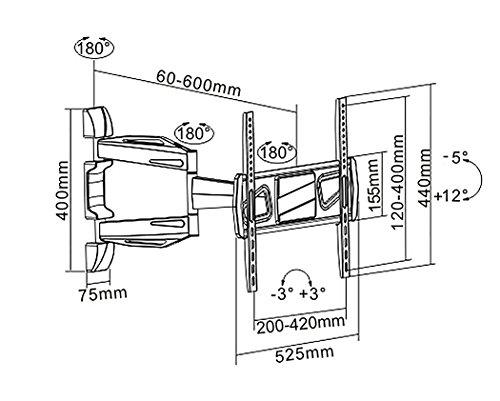 RICOO Fernsehhalterung S0944 Wandhalterung TV Schwenkbar Neigbar Halterung Wandhalter LED LCD Flachbild-Fernseher 76-140cm/30-42-50-55 Zoll - 6