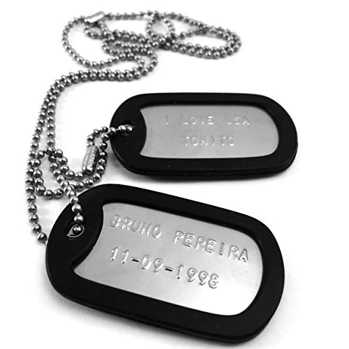 a665bb006831 Chapas Militares Personalizadas Grabadas en Relieve   Juego de 2 Chapas y.