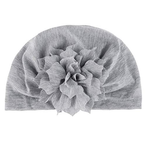 Lazzboy Unisexmode Neugeborenes Baby Mädchen Jungen Floral Saum Mütze Hut Kappe Haarband Chiffon Blume Haarschmuck Spitze Band Neugeborene Kopfbedeckung(D)