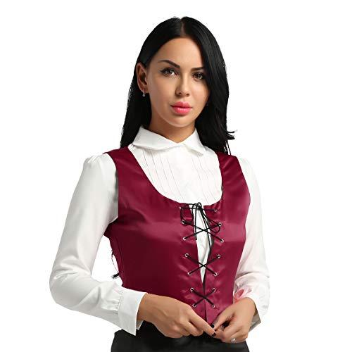 Agoky Damen Mittelalter Kostüm Mieder Weste Korsett Klassische Anzugweste Waistcoat Gothic Bluse Hemd Frauen Fasching Karneval Party Kleidung Weinrot M(Brust 90cm)