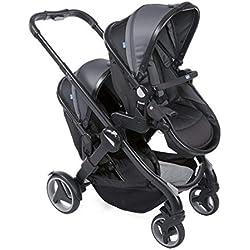 Chicco Fully Twin Silla de paseo gemelar, capazo y silla de paseo transformable, color negro (Stone)