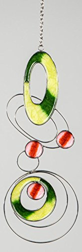 dekojohnson Fensterhänger Fensterschmuck Moderner Dekohänger Tiffany Design Grün 11x30 cm Inkl Geschenkkarte