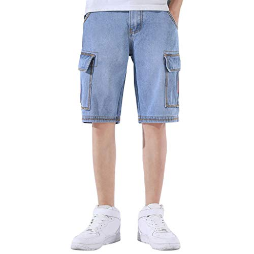 Jeans Shorts Herren Kurze Denim Hose Mit Destroyed Optik Aus Stretch Sommer Slim Fit Vintage Bermudas Cargohose Qmber,Werkzeug-Shorts/LB,30 -