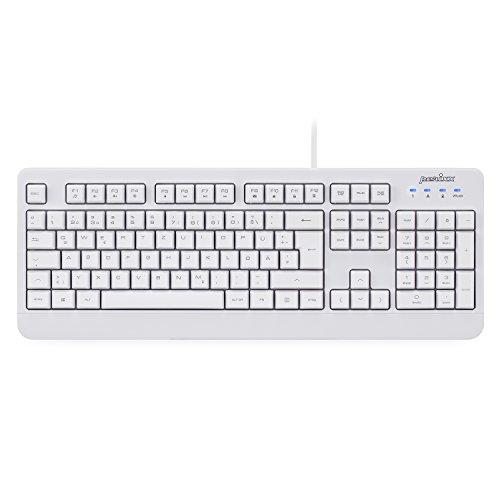 Perixx PERIBOARD-517 wasserdichte Tastatur - IP65 - Antibakterielle Schutzschicht - Vollständig Wasserdicht - QWERTZ Layout - Weiß