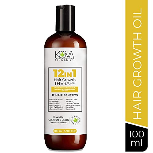 Kova Organics 12 in 1 Hair Growth Therapy, Anti Hair-fall, Anti Dandruff and Hair Growth Oil, Blend of 13 powerful oils and herbs - 100 ml