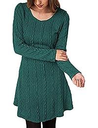 Vestido Alinear De Punto Mujer Elegantes Vintage Otoño Invierno Jersey de Vestir Moda Ropa de Punto